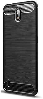 حافظة هاتف محمول نوكيا C1 من نسيج ألياف الكربون المصقول بالكامل مضاد للسقوط - أسود
