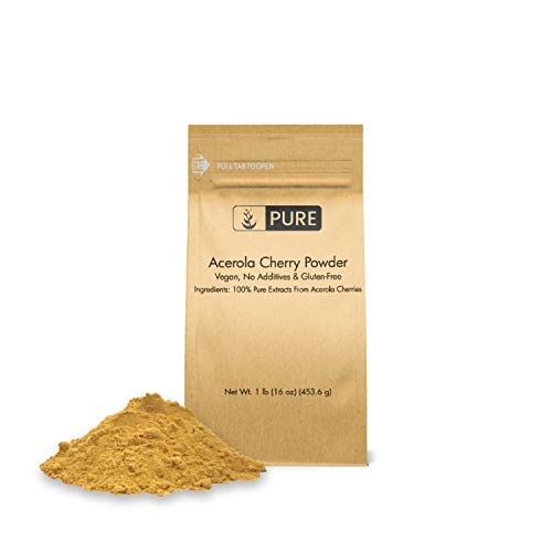 Acerola Cherry Powder (1 lb, ½ TSP per Serving) by Pure, 100% Pure, Rich in Vitamin C & Immunity Boosting, All-Natural, Gluten-Free, Eco-Friendly Packaging