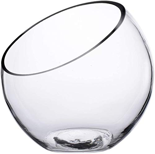 Glazen schuin gesneden bubbelschaal, Plant Terrarium & Snoeppot, Duidelijke schuin gesneden bolvaas, Ronde bloemenvaas, Mini aquarium