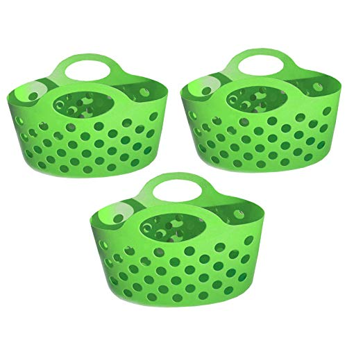 Green 3 Pack Plastic Baskets with Handles Small Soft Carry Totes Stackable