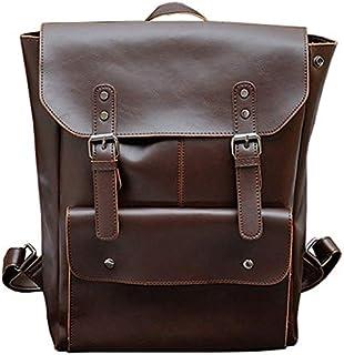 TOOGOO Multifunction Men Backpack Crazy Horse Leather Men School Bag Vintage Backpack for Teenage Boys Schoolbag Laptop Travel Bag Black