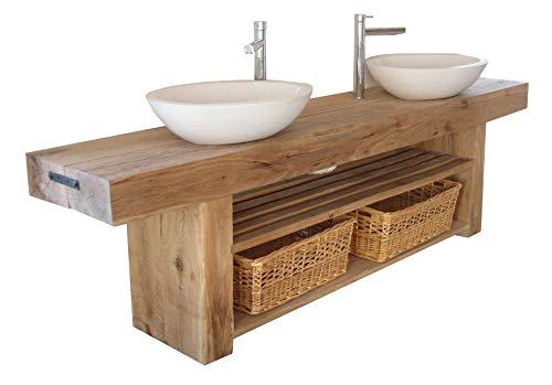 Mueble de baño de madera gruesa – Mueble doble de madera maciza de pino encerado – Mueble de almacenamiento con lavabo redondo con grifo y desagüe emergente.