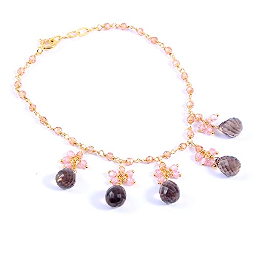 Ratnagarbha Smoky Quartz Gold Bracelet, Protection Anxiety Bracelet, Grounding Jewelry, Smokey Quartz Dainty Bracelet, Sterling Silver Bangle, Mothers Day Gift, Natural Gemstones Bracelet