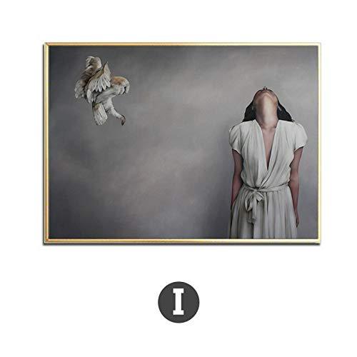 Moderne vrouw in witte jurk Canvas Schilderij Posters Print Unieke Minimalistische Decor Wall Art Foto's voor Woonkamer Slaapkamer Cafe 60x80cm Geen Frame