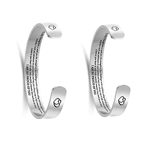 SHOULIAN Best Friend Bracelets for Women Inspirational Engraved Cuff Bangle ?nside Lettering Small Composition Double Peach Heart C-Shaped Bracelet