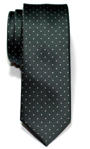 Retreez Cravate Fine Slim Tissée À pois à épingles pour homme - Gris et Gris clair