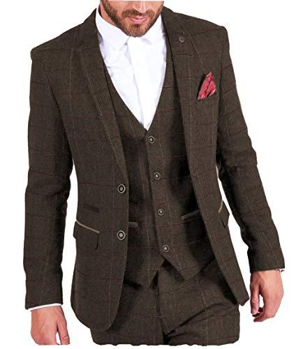 MoranX Casual Herren Anzüge 3 Teilig Wolle Kariert Fischgrätenmuster Tweed Smoking Business Jacke Blazer Weste Hose Hochzeitsanzug(Kaffee,48)