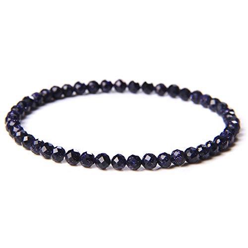 4 mm Africano Turquisi Beads Pulseras Vintage Estirar Hombres Natural Chakra Reiki Stone Bangle Mujer Joyería blue sandstone 19cm