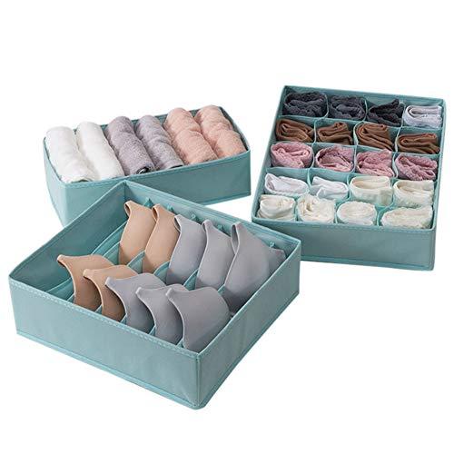 Wination Divisor de cajones con múltiples celdas para cajones, práctico cajón, caja de almacenamiento para dormitorio, armario, organizadores para bragas de sujetador, calcetines, color azul