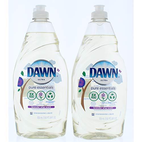 2 Pk. Dawn Pure Essentials Lavender Wisp Dishwashing Liquid Dish Soap 24 oz (48 Fl. Oz Total)