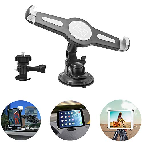 2 in 1 Car Windshield Dashboard Holder, Tablet & Camera Tripod Mount with Big Suction Cup and 360 Degree Rotation for iPad Pro 12.9 11 10.5 iPad Air 5 4 3 2, GoPro Hero 8 7 6 5 4 3+ 3 2 1 and Cameras