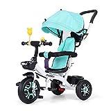Carro de bicicleta para niños de 1 a 3 a 6 años de edad, cinturón de seguridad, valla de freno de seguridad para interiores y exteriores, triciclo portátil (color: verde)