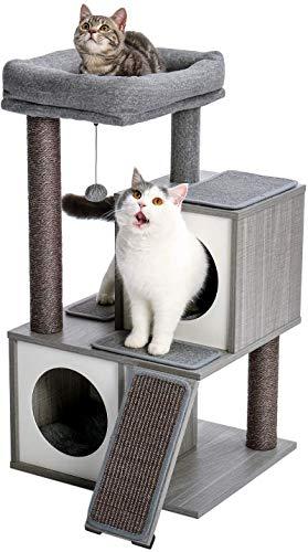 """Eono Essentials Moderne Holz Kratzbaum Katzenbaum Sisal Katzenkratzbäume Kätzchen Möbel mit Katzenhöhle Spielhaus Katzenspielzeug Grau Höhe 34\"""""""