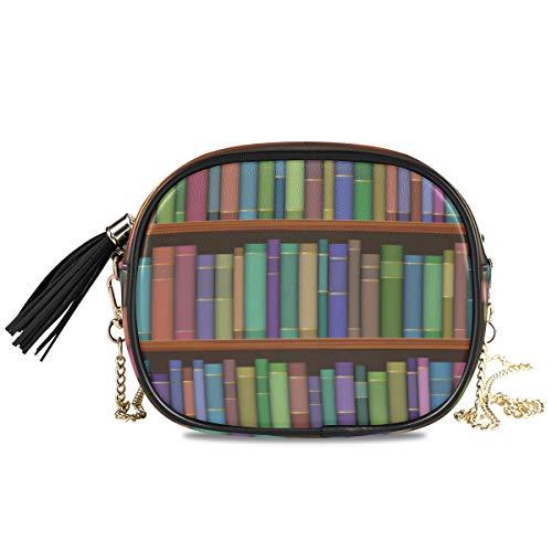 DEZIRO bibliotheek planken met oude boeken patroon kleine PU lederen Crossbody tas met verstelbare metalen ketting riem voor vrouwen