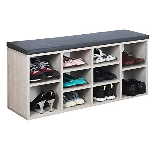 RICOO WM033-EP-A Banco Zapatero 104x49x30cm Armario Interior con Asiento Organizador Zapatos Mueble recibidor Perchero Madera Roble marrón