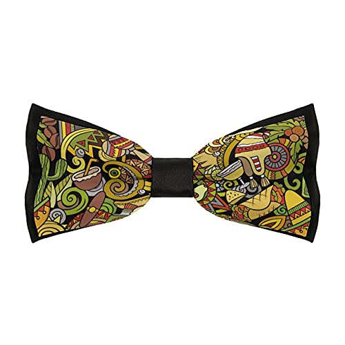 Classic Pre-tied Bow Tie, Cartoon Cute Doodles Latin America Novelty Adjustable Business Bow Ties for Mens Boys, Formal Fashion Tuxedo Bowtie for Wedding Business Party Gift