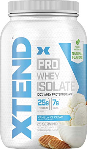 XTEND Pro Protein Powder Vanilla Ice Cream | 100% Whey Protein Isolate | Keto Friendly + 7g BCAAs with Natural Flavors | Gluten Free Low Fat Post Workout Drink | 1.8lbs