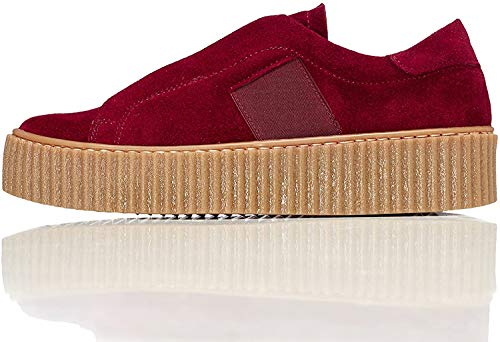 find. Plateauslipper Damen Sneaker-Design und gerippte Sohle, Rot (Red), 38 EU