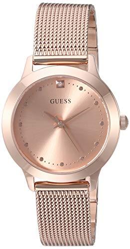 GUESS Relógio de pulseira de malha com mostrador de diamante de 30 mm, Tom dourado rosa