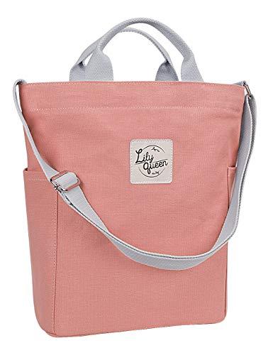 Lily Queen Women Canvas Tote Handbags Casual Shoulder Bag purse Crossbody (Almond Pink)