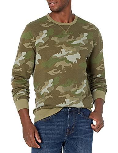 J.Crew Mercantile Herren Cotton Crewneck Camo Sweatshirt Hemd, Camouflage Oliv, Small