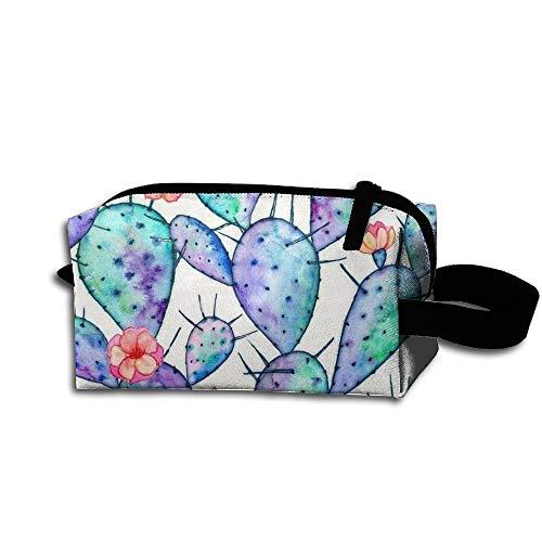 Travel Makeup Rainbow Watercolor Cactus Beautiful Waterproof Cosmetic Bag Quick Makeup Bag Pencil Case