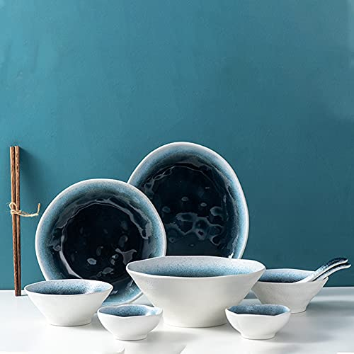 Juegos de vajilla de porcelana, vajilla de grano de piedra irregular con platos, cuencos, vajilla de cerámica para la cocina del hogar, soporte para microondas, lavavajillas, servicio para 2/4,11pcs