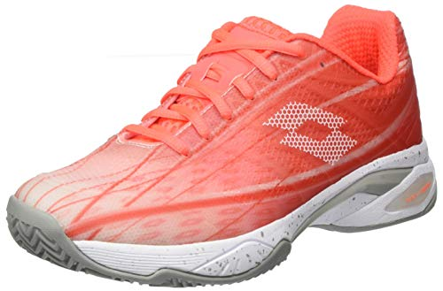 Lotto Mirage 300 Clay Sandplatzschuh Damen-Orange, Silber (38.5 EU), Zapatillas de Tenis Mujer, Plata Naranja