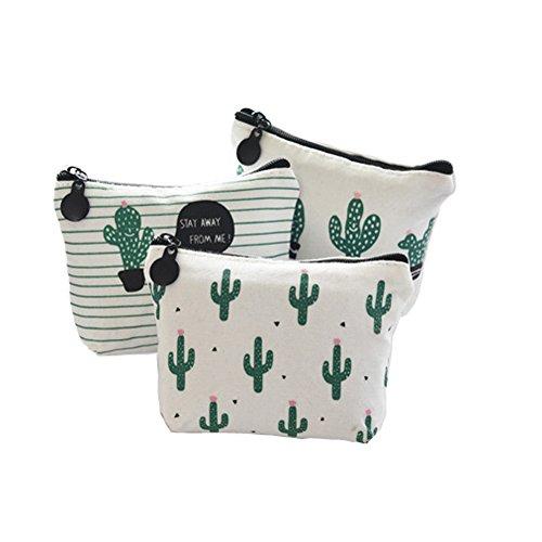 3X Demarkt Mini Geldbeutel Täschchen Schlüsseltasche Leinwand (Kaktus 3PCS)
