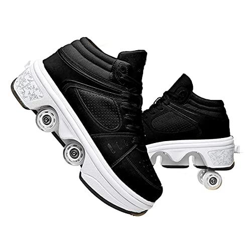 XWZH Automática De Skate Zapatos con Ruedas para Zapatos Multiusos 2 En 1 Patines Deportes Al Aire Libre Zapatos De Skate Zapatos Niños Y Niña Zapatillas Invisible De Polea De Zapatos Black,37