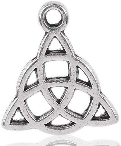 Housweety 50PCs Silver Tone Celtic Knot Charm Pendants 15x17mm(5/8'x5/8')