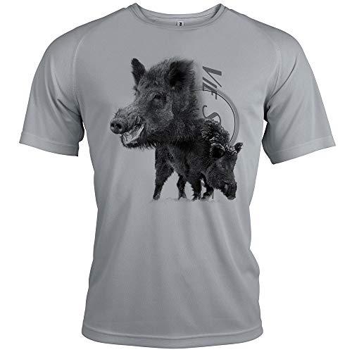 Pets-easy t Shirt - Caza con diseño de jabalí, Hombre, gris, large
