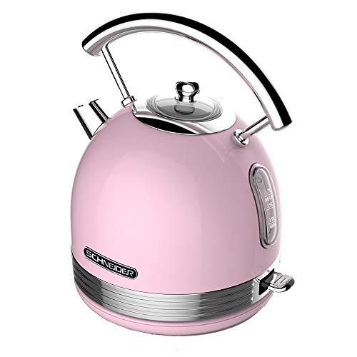 Unbekannt Schneider SL W2 SP Retro Wasserkocher Pink 1,7 Liter 2200 Watt Edelstahl-Chrom