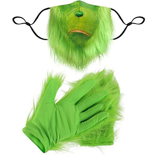 Sttoce G-rinch m-Ask und Handschuhe, Wiederverwendbar Grün G-rinch Weihnachten Einstellbar Face M-Ask, Grün Monster Cosplay, Unisex Fashion Cosplay Kostümzubehör für Weihnachten