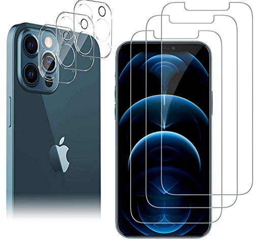 "[6 Pack] 3 Pack Screen Protector for iPhone 12 PRO MAX 5G 6.7"" + 3 Pack Camera Lens Protector for iPhone 12 PRO MAX Tempered Glass HD Clear [Anti-Scratch] [Case Friendly] [Bubble Free]"