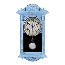 jomparis Pendulum Wall Clock Retro Quartz Decorative Battery Operated Wall Clock for Home Kitchen Living Room-16 Inch (Sky Blue)