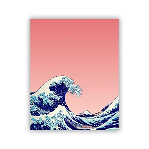 MXmama Gran Ola de Kanagawa Ukiyoe Arte japonés Impresiones en Lienzo Pink Wave Cartel Vintage Cuadro de Pared Pintura Famosa Decoración para Sala de Estar -20x28 Pulgadas sin Marco