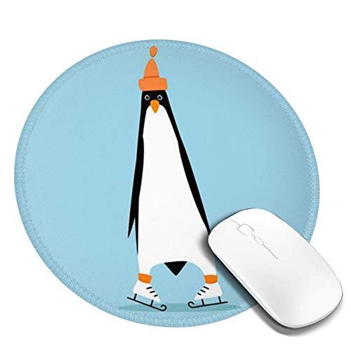 Lustiger Pinguin auf Schlittschuhen Gedrucktes rundes Mauspad, Mousepad für Desktop-Computer-Laptop, Mausmatte für das Arbeiten, Mini-lustiges einzigartiges Mauspad für Zuhause, Bürodekor