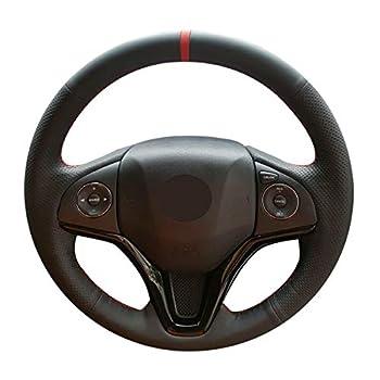 Mewant Black Real Leather Custom Steering Wheel Covers for Honda Fit 2014-2019 City 2014-2019 Jazz 2014-2019 HR-V HRV 2016-2019