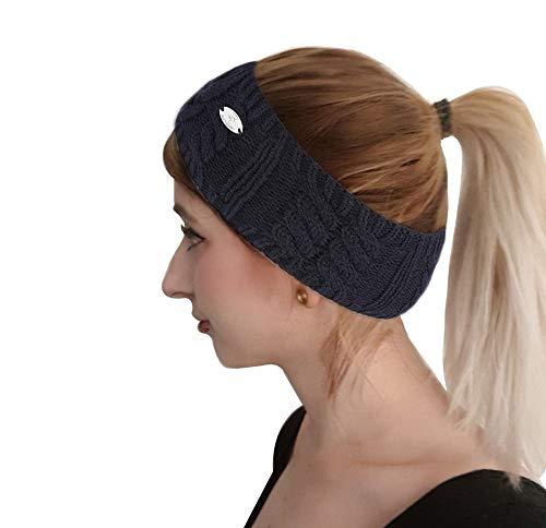 AnJuHoPa Femmes Bandeau Tricoté Cache-oreilles pour Femmes Adolescents Bandeau d'hiver Marine (épaisseur commune)