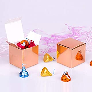 YESON Rose Gold Candy Boxes 2 x 2 x 2 inch Small Square Paper Party Favor Boxes, Party Supplies Decorations,Pack of 50