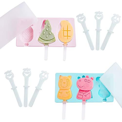2Stück Eisformen,Eisformen mit Deckel,Wiederverwendbar Eisform,Eisformen Silikon BPA Frei,Eisformen Eis am Stiel Klein, Popsicle Formen Set für Kinder und Erwachsene