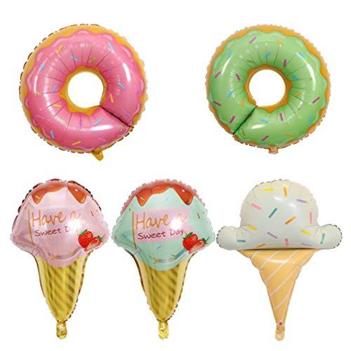 PRETYZOOM 5 Piezas Donas Globos de Helado para La Fiesta de Cumpleaños Decoración de La Boda Baby Shower Donut Time