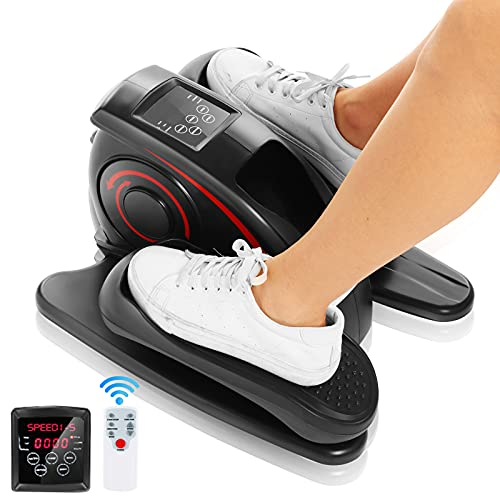 ANCHEER Under Desk Elliptical, Indoor Mini Pedal Exerciser, Electric Under Desk Elliptical Machine Trainer with Built in Display Monitor Quiet & Compact Exercise Equipment for Home Workouts