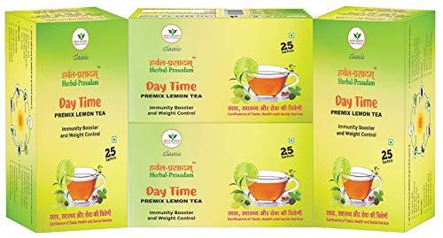 Herbal Prasadam Tea (Premix Lemon) Pack of 4, 100 Sachets