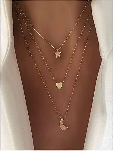 Cath, collana con ciondolo a forma di cuore con stella e luna, a strati, con grazioso ciondolo a forma di cuore