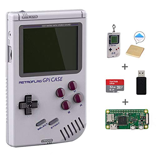 AKNES RETROFLAG GPi Case with Raspberry Pi Zero W & Raspberry Pi Heatsink with 32GB SD Card Retro Gaming Handheld Portable System