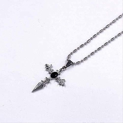 Collares de moda para hombre, joyería colgante, cruz de cristal, alas de ángel, collares de diablo, collares de cadena de cuero