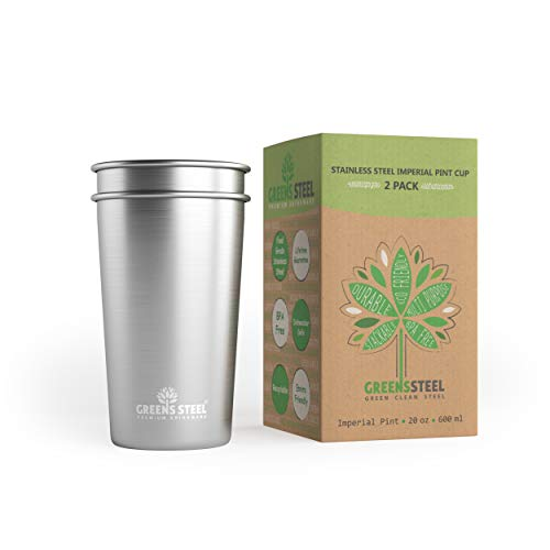 Greens Steel Taza de Acero Inoxidable de 600ml (Paquete de 2) Vasos...
