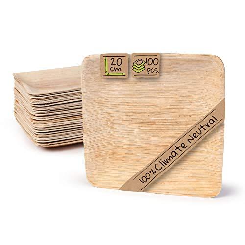 BIOZOYG Hochwertiges Palmblattgeschirr | 100 Stück Palmblatt Teller rechteckig 20 x 20 cm | Bio Einweggeschirr biologisch abbaubar Partygeschirr Einmalgeschirr Wegwerfgeschirr